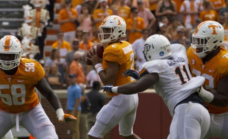 Jarrett Guarantano (2) looks for open receivers during Tennessee vs. UTEP on Sept. 15, 2018, at Neyland Stadium. Photo courtesy of Megan Albers / The Daily Beacon