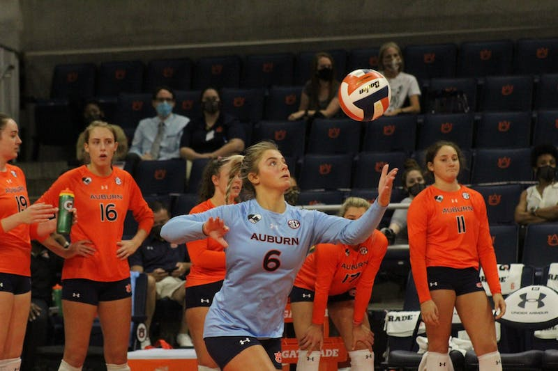 Bella Rosenthall serves the ball in a match against North Alabama on Sept. 9, 2021, at Auburn Arena in Auburn, Alabama.