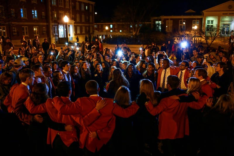 The War Eagle Girls and Plainsmen sing to Lauren Jones, Miss Auburn 2015, after the SGA and Miss Auburn callouts Feb 10, 2015. (File photo)