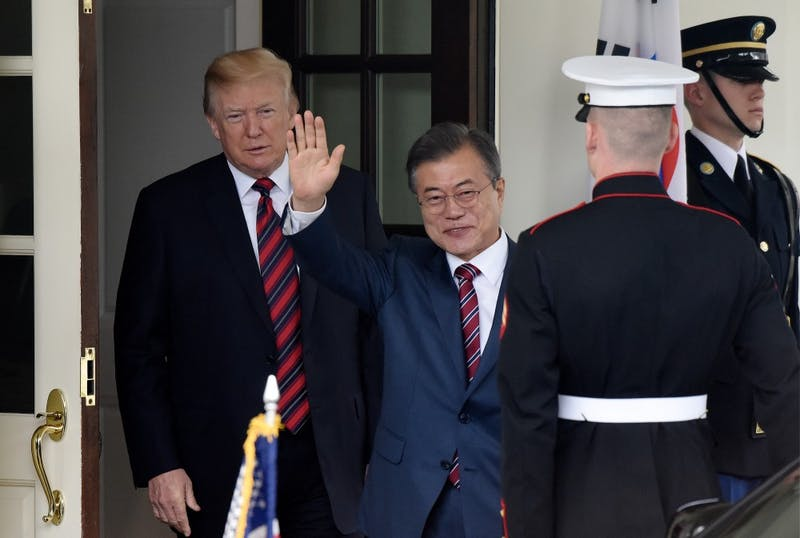 U.S. President Donald Trump welcomes President of the Republic of Korea Moon Jae-in during an arrival ceremony on the West Wing of the White House on May 22, 2018 in Washington, D.C.  (Olivier Douliery/Abaca Press/TNS)