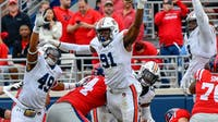 Nick Coe (91) attempts to block a field goal during Auburn vs. Ole Miss on Oct. 20, 2018, in Oxford, Miss.