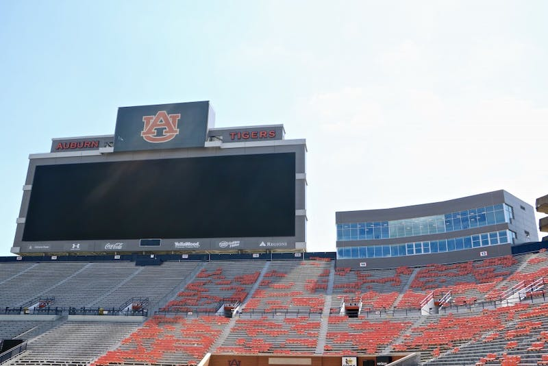 The bottom right corner of the press box homes the memory and reserved seat of the Voice of the Auburn Tigers in Jordan Hare Stadium on Sept. 2019, in Auburn, Ala.