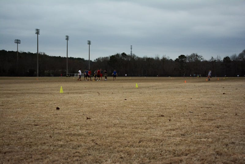 Students use the intramural fields on Friday, Feb. 16, 2018.