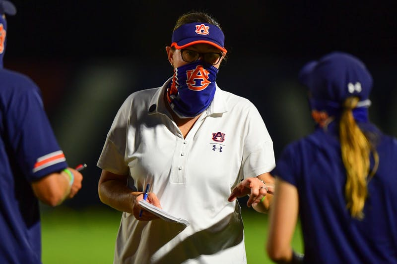 Sep 18, 2020; Auburn, AL, USA; Auburn Tigers soccer head coach Karen Hoppa during the match between Auburn and Mississippi State at Auburn Soccer Complex.