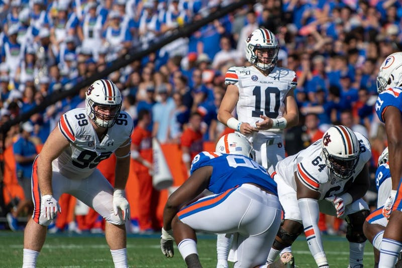Bo Nix (10) prepares to snap the ball during Auburn vs. Florida, on Saturday, Oct. 5, 2019, in Gainesville, Fla.