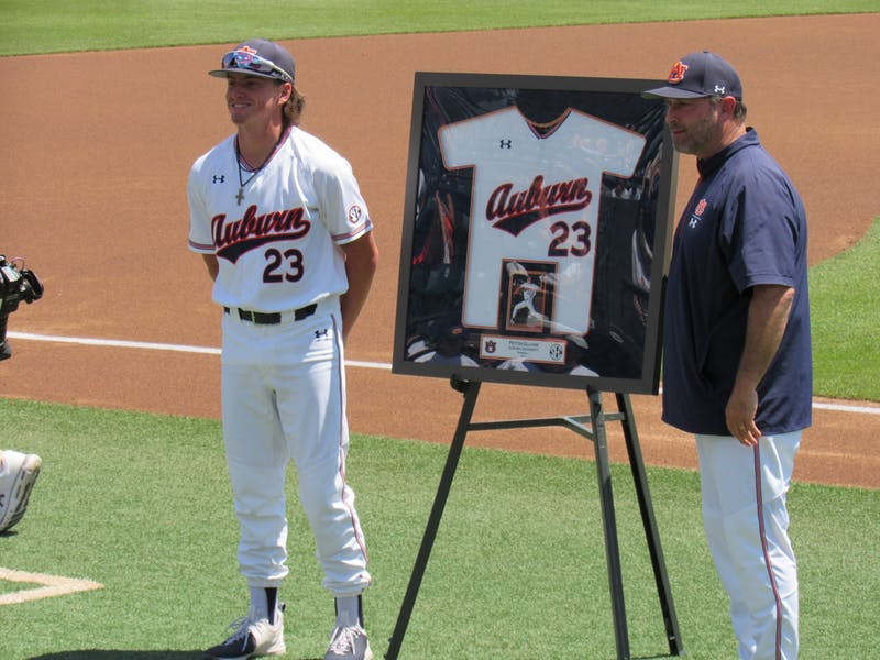 Peyton Glavine (23) being honored on Senior Day at Plainsman Park on May 15, 2021, in Auburn, Ala.