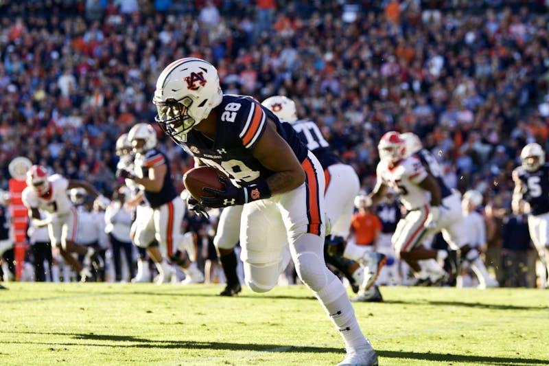 JaTarvious Whitlow (28) during the Auburn vs. Georgia game on Saturday, Nov. 16, 2019, in Auburn, Ala.