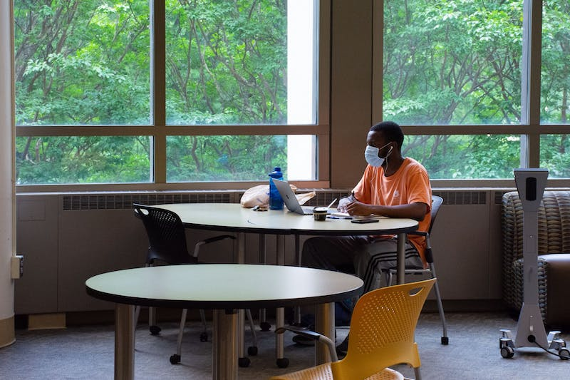 Large study areas in the library have been broken up into smaller areas to allow for social distancing.