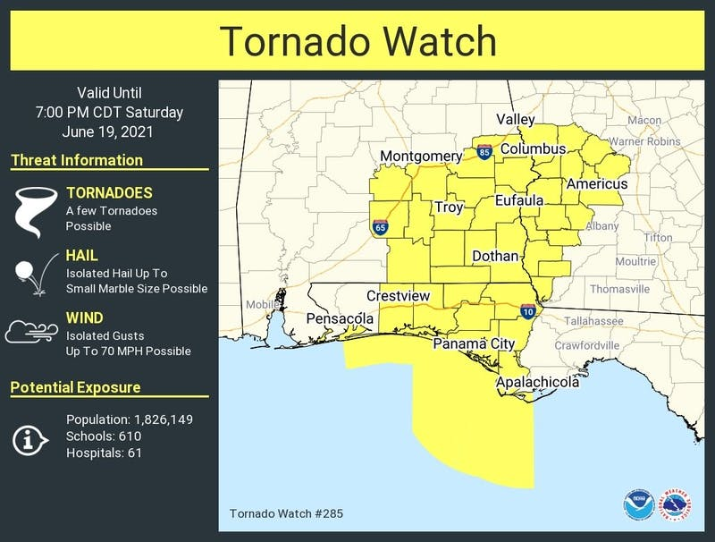Lee County is under a tornado watch this Saturday, according to the National Weather Service.