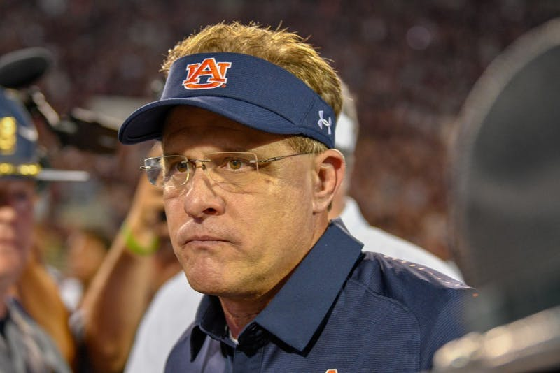 Auburn Coach Gus Malzahn looks on following Auburn Footballs 23-9 loss to Mississippi State on Saturday, Oct. 6, 2018, in Starkville, Miss.
