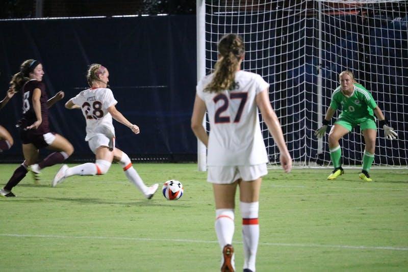 Auburn Womens soccer team shoots for the goal during the Auburn vs. Mississippi State game Friday Sept. 14 in Auburn, Ala.