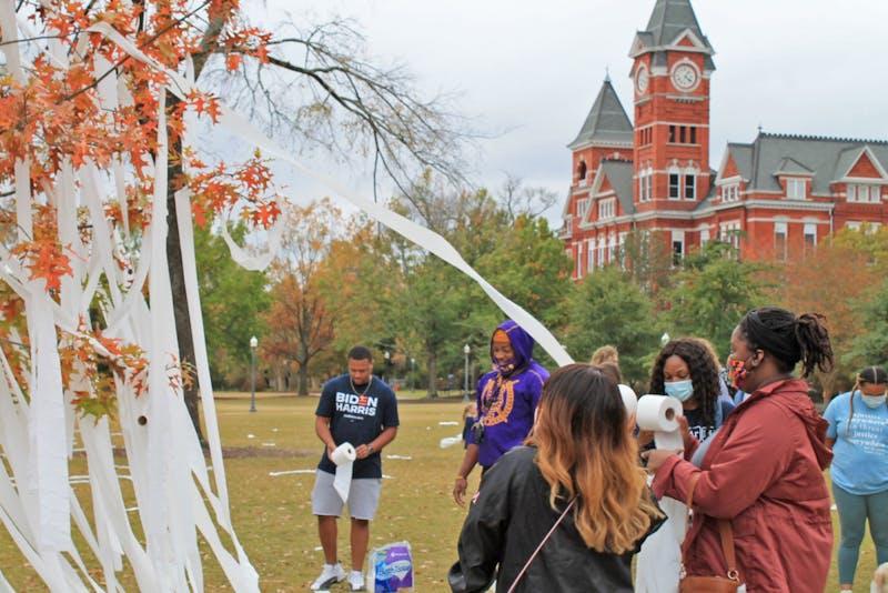 Students gather on Toomer's Corner to celebrate Joe Biden as the next president-elect.