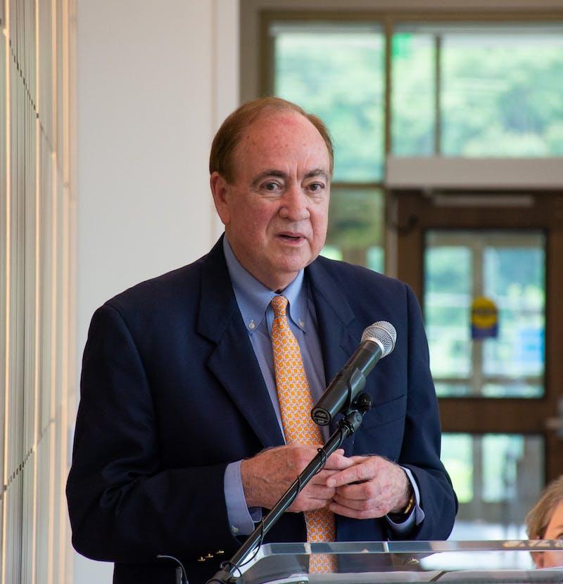 Auburn University President delivers a short speech at the Auburn Medical Pavilion.