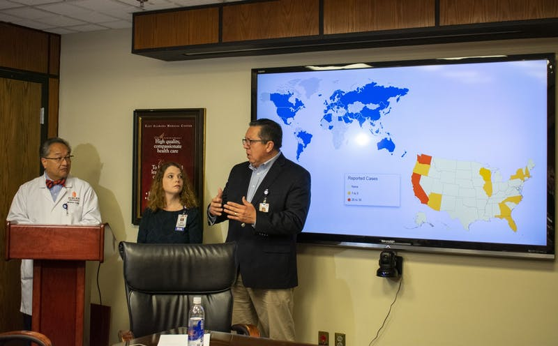 Dr. Fred Kam, Dr. Ricardo Maldonado and Brooke Bailey hold a press conference to address the threat of coronavirus on March 5, 2020.