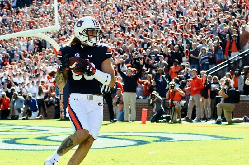 Sal Cannella (80) scores a touchdown  during the first half of Auburn Football vs. Texas A&M on Saturday, Nov. 3, 2018, in Auburn, Ala.