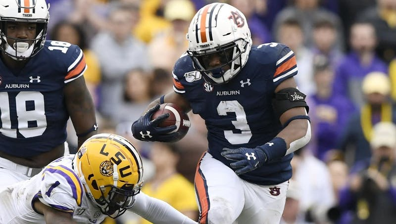 Auburn running back D.J. Williams (3) runs the ball during the Auburn vs. LSU game on Saturday Oct. 26, 2019, in Baton Rouge, La.