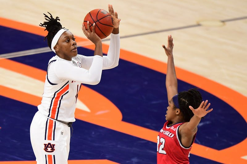 Jala Jordan (14) shoots during the game between Auburn and Samford at Auburn Arena on Nov 28, 2020; Auburn, AL, USA. Photo via: Shanna Lockwood/AU Athletics