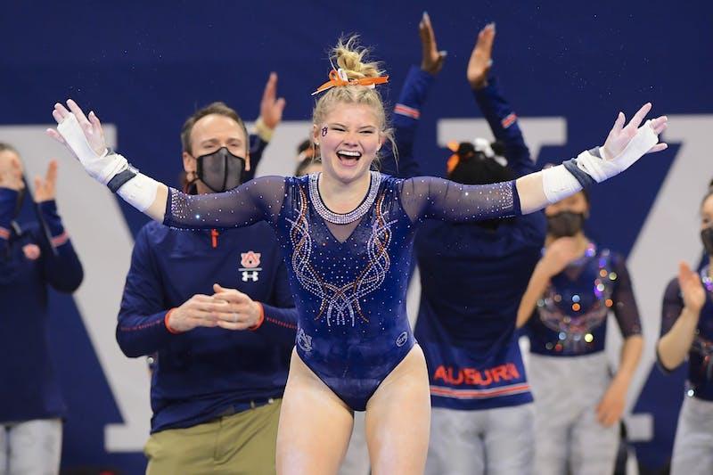 Feb 19, 2021; Auburn, AL, USA; Adeline Sabados during the gymnastics meet against Georgia at Auburn Arena. Mandatory Credit: Shanna Lockwood/AU Athletics