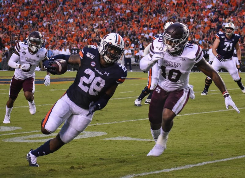 Boobee Whitlow (28) carries for a touchdown during Auburn vs. Miss State on Sept. 28, 2019, in Auburn, Ala.