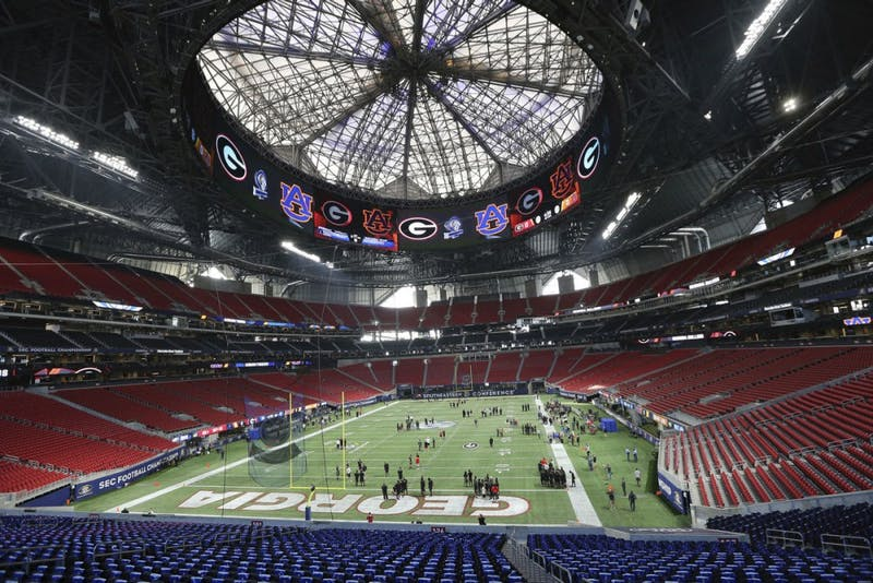 Mercedes-Benz Stadium prior to the 2017 SEC Football Championship. Photo courtesy of AP.