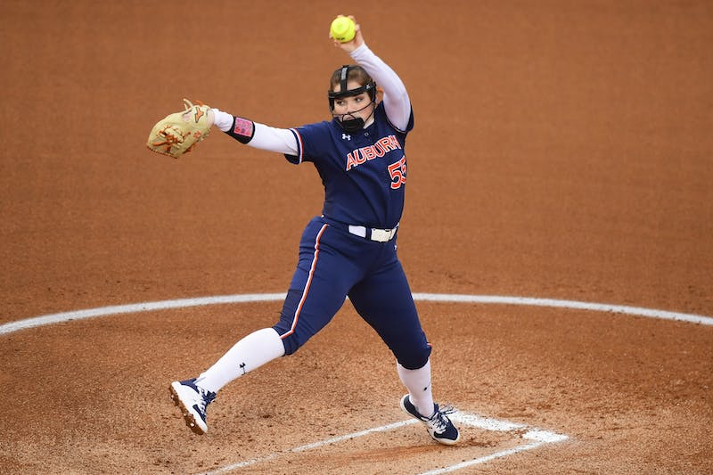 Auburn Tigers Shelby Lowe (55) delivers a pitch during the second game against Southeast Missouri State at Jane B. Moore Field on Feb 13, 2021; Auburn, AL, USA. Photo via: Shanna Lockwood/AU Athletics
