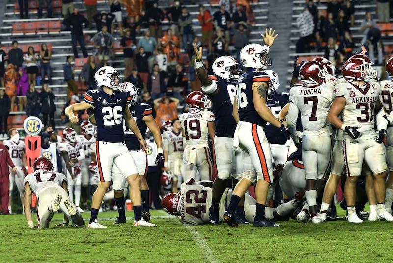 Oct 3, 2020; Auburn, AL, USA; Anders Carlson (26) reacts after kick during the game between Auburn and Arkansas at Jordan-Hare Stadium. Todd Van Emst/AU Athletics