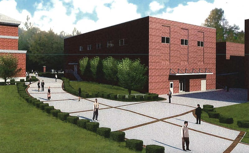 A preliminary architectural rendering shows plans for a new band rehearsal hall on West Samford Avenue east of Goodwin Hall.