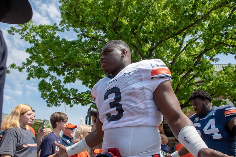 Marlon Davidson (3) walks through Tiger walk prior to A-Day 2019, on Saturday, April 13, 2019, in Auburn, Ala.