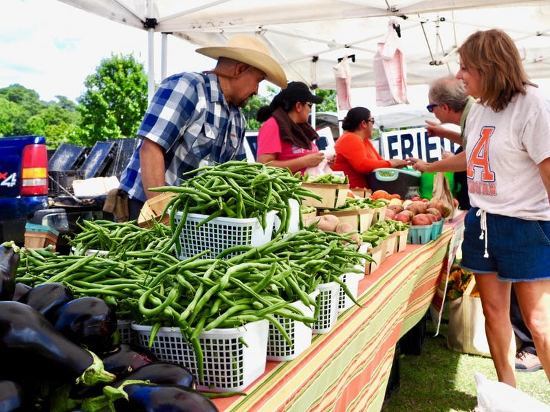 Customers buy produce at the Farmers Market at the Agricultural Heritage Park on on Thursday, July 11, 2019 in Auburn, Ala.