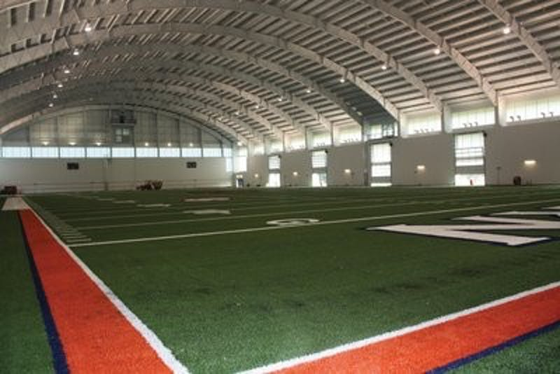 The indoor practice facililty is scheduled to be finished July 29. The football players would be allowed to be in the facility on the July 30, but won't report to practice until a few days later. (Nicole Singleton / Sports Editor)