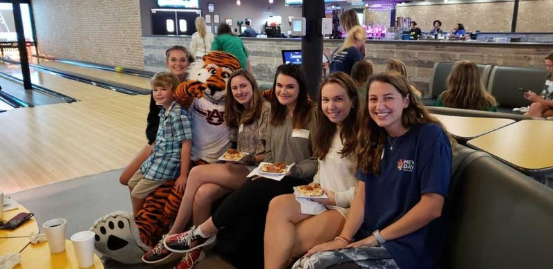 "Delta Zeta sorority members of the team ""Hollis's Heart Throbs"" pose for a pic with Aubie at GoodTimes Bowling on Sep. 27, 2018 in Auburn, Ala. The team backed seven year-old Hollis Yuan, who was born with CDH and spent 6 months in NICU at Children's Hospital in Birmingham, Ala."