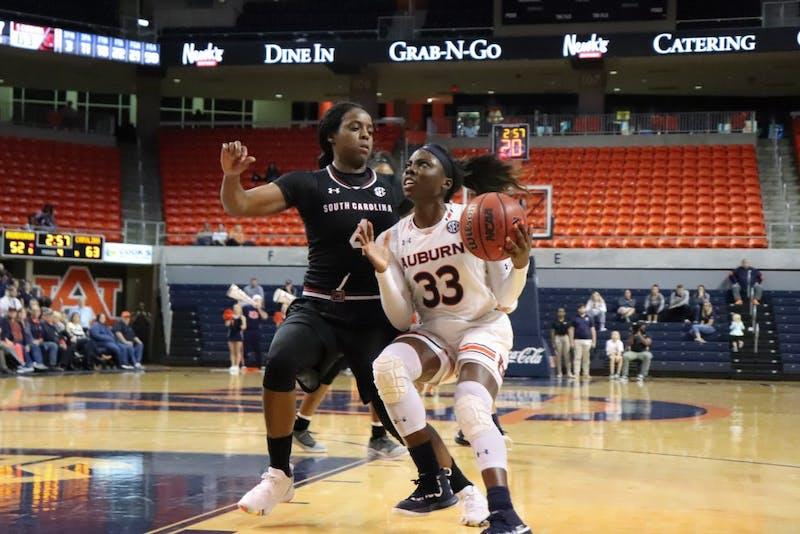 Janiah McKay (33) preparing to make a shot at Auburn Women's Basketball on Feb. 28, 2019, in Auburn, Ala.