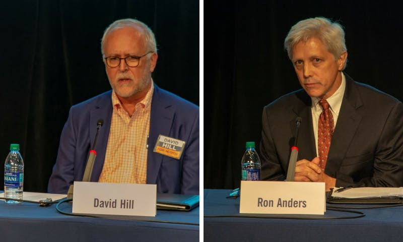 David Hill, left, and Ron Anders Jr., right, are in a runoff to be Auburn's next mayor.