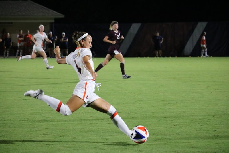 Auburn Womens soccer team takes the ball during the Auburn vs. Mississippi State game Friday Sept. 14 in Auburn, Ala.