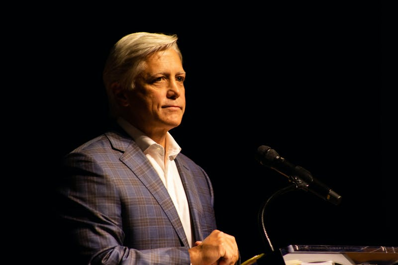 Mayor Ron Anders delivers his third annual State of the City address on Monday, Oct. 25, 2021, in the Jay and Susie Gogue Performing Arts Center in Auburn, Ala.