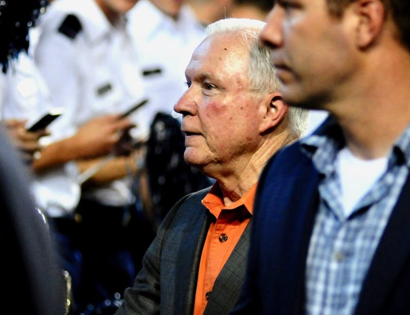 U.S. Attorney General Jeff Sessions attends the Auburn vs. Arkansas football game on Sept. 22, 2018, in Auburn, Ala.