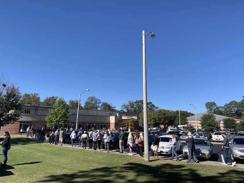 Voters say it took a little under an hour to reach the front of the line at Frank Brown Recreation Center.