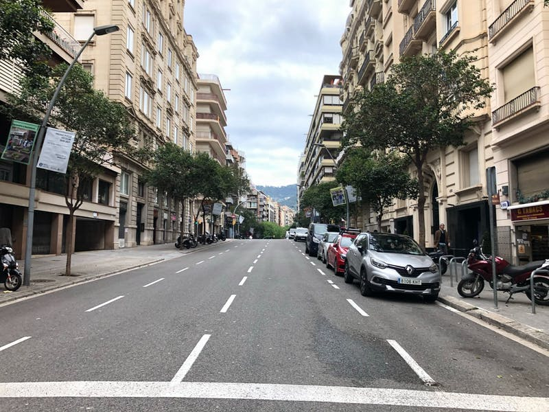 An empty street in Barcelona, Spain, during the COVID-19 pandemic as seen by Carmen Rossell.