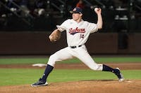 Elliot Anderson pitches during Auburn baseball vs. Georgia Tech on Tuesday, March 13, 2018, at Plainsman Park in Auburn, Ala.