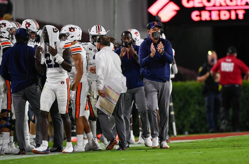 Oct 3, 2020; Athens, GA, USA; Coach Gus Malzahn reacts during the game between Auburn and Georgia at Samford Stadium. Todd Van Emst/AU Athletics