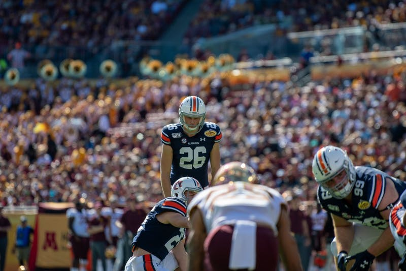 Anders Carlson (26) prepares to kick the football during Auburn Football vs Minnesota, on Wed, Jan. 1, 2020, in Tampa, Fla.