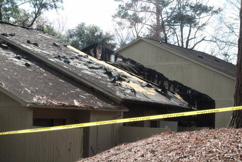 Burn damage to the apartment at the scene of the Crossland Downs shooting and fire on Feb. 16, 2019, in Auburn, Ala.