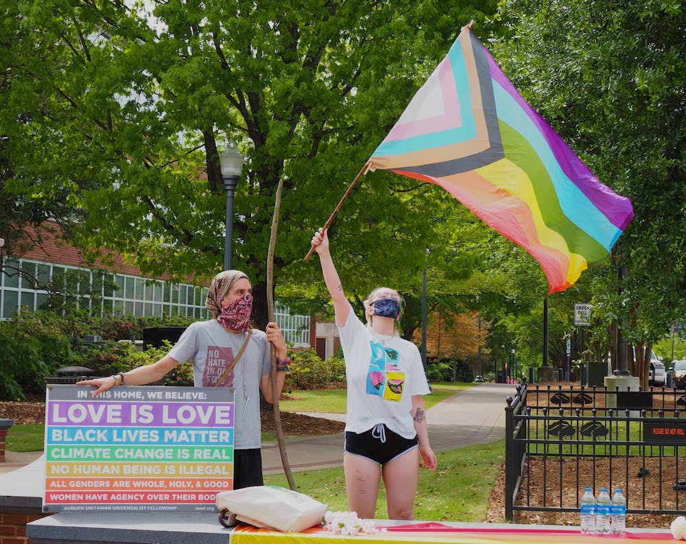 Anti-gay-marriage group and LGBTQ students protest downtown