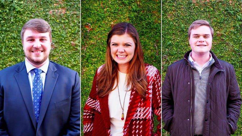 Brooks Jones, Mary Margaret Turton and Daniel Calhoun are running for SGA president.