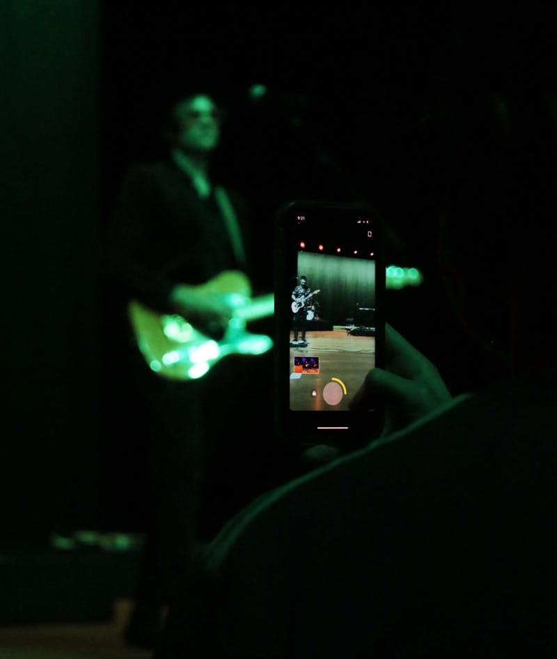 A fan records Saint Motel's performance during Tigerfest, Auburn's first on-campus music festival, on Aug. 21, 2021, in Auburn, Ala.