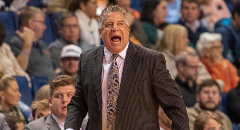 Auburn Head Coach Bruce Pearl yells during Auburn Men's Basketball vs. UNC Asheville on Tuesday, Dec. 4, 2018, in Auburn, Ala.