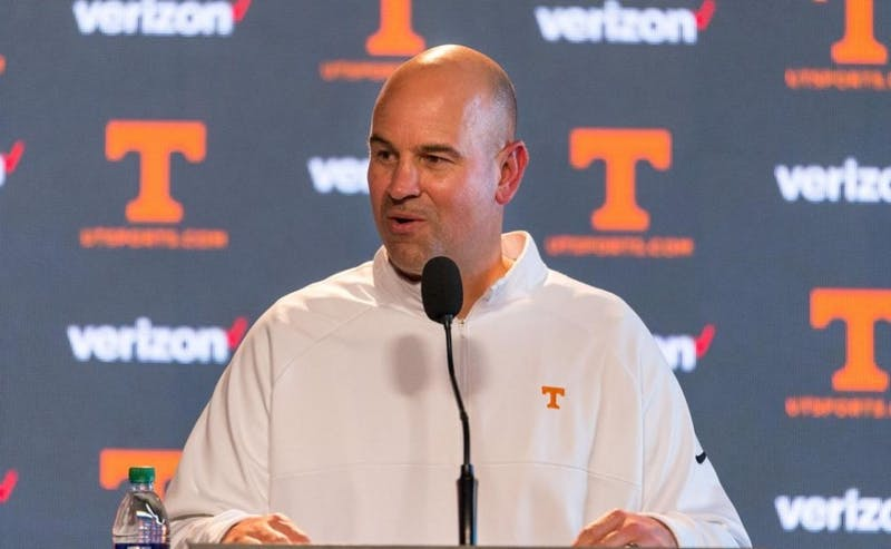 Tennessee coach Jeremy Pruitt, courtesy of Adrien Terricabras / The Daily Beacon