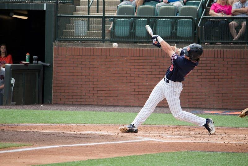 Edouard Julien (10) batsfor Auburn Baseball against Mississippi State on Saturday, April 14, 2018, in Auburn, Ala.