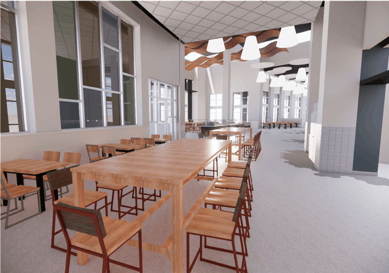 Design of community-seating in Tiger Zone, courtesy of Campus Dining.