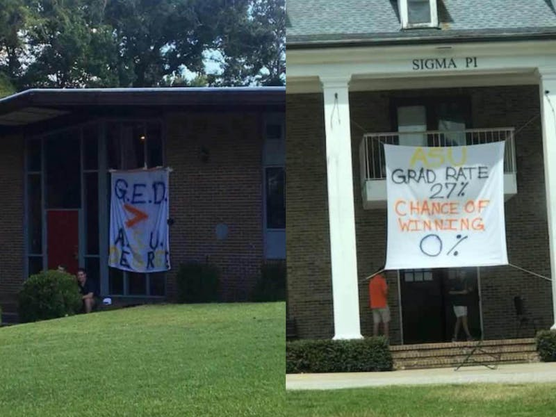 Banners hung at Phi Sigma Kappa and Sigma Pi have prompted responses from the University and the Interfraternity Council.